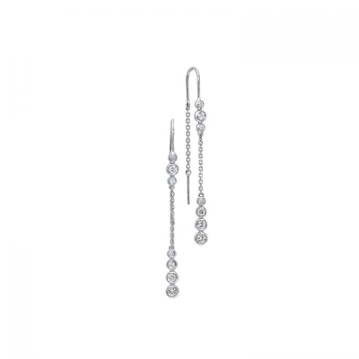 14k White Gold Bezel Set Diamond Threader Earrings Jewelry
