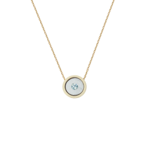 Birthstone Necklace March Acquamarine Yellow Gold 14K