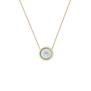 Birthstone Necklace April Diamond Yellow Gold 14K