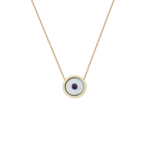Birthstone Necklace June Moonstone Yellow Gold 14K