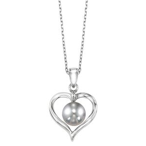 Sterling Silver Heart Pearl Pendant