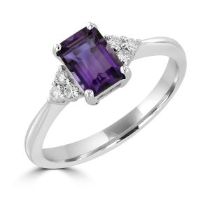 Amethyst and diamond ring set in 14k white gold-Empire