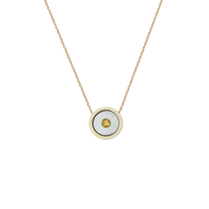 Birthstone Necklace November Yellow Topaz/Citrine Yellow Gold 14K