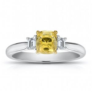 1.11 Carat Cushion Yellow Sapphire and Diamond Ring