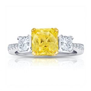 3.15 Carat Yellow Sapphire and Diamond Ring