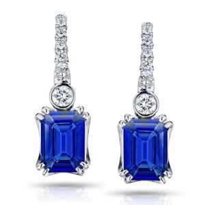 2.19 Carat Emerald Cut Blue Sapphire and Diamond Earrings