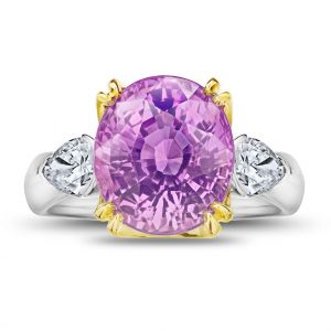 9.08 Carat Oval Pink Sapphire and Diamond Ring