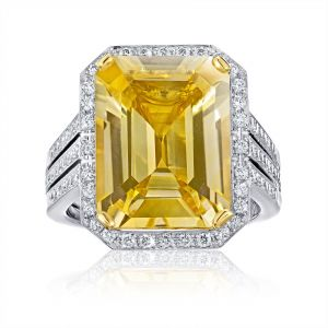 11.19 Carat Yellow Sapphire and Diamond Ring