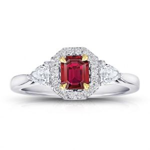 .59 Carat Emerald Cut Red Ruby and Diamond Ring