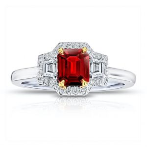 .72 Carat Emerald Cut Red Ruby and Diamond Ring