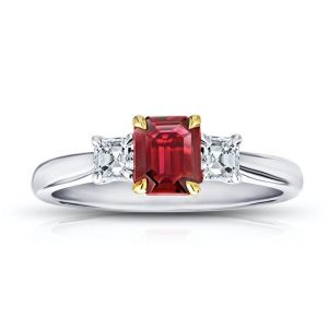 .73 Carat Emerald Cut Red Ruby and Diamond Ring