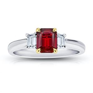 .75 Carat Emerald Cut Red Ruby and Diamond Ring