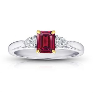 .77 Carat Emerald Cut Red Ruby and Diamond Ring