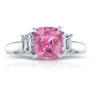 2.65 carat Cushion Pink Sapphire and Diamond Ring