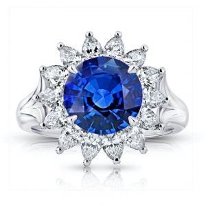 3.40 Carat Round Blue Sapphire and Diamond Ring