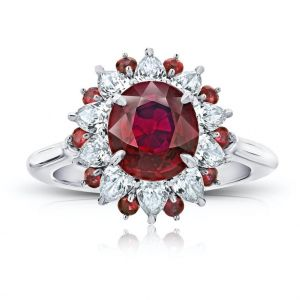 3.39 carat Oval Red Ruby and Diamond Platinum Ring