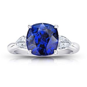 5.42 Carat Cushion Blue Sapphire and Diamond Ring