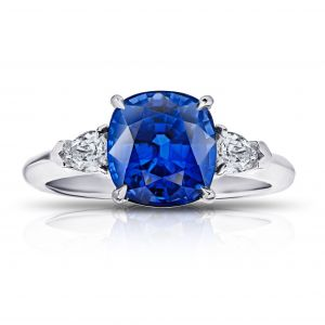 4.13 Carat Cushion Blue Sapphire and Diamond Ring