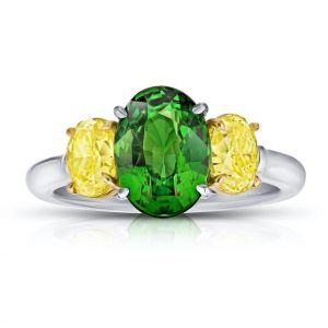 3.02 Carat Oval Green Tsavorite and Diamond Ring