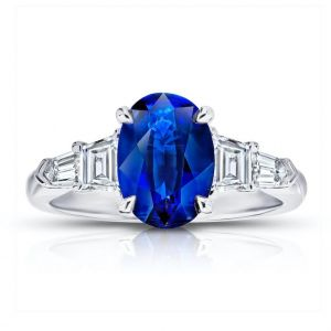 2.78 Oval Blue Sapphire and Diamond Ring