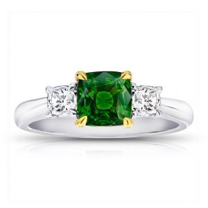 1.58 Carat Cushion Green Tsavorite Ring