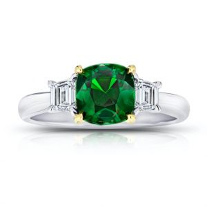1.93 Carat Cushion Green Tsavorite Ring