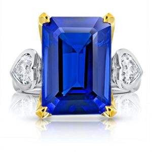 13.97 Carat Emerald Cut Blue Tanzanite and Diamond Ring