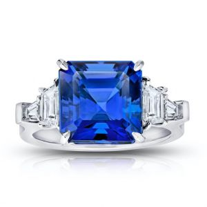 7.25 Carat Asscher Cut Blue Tanzanite and Diamond Ring