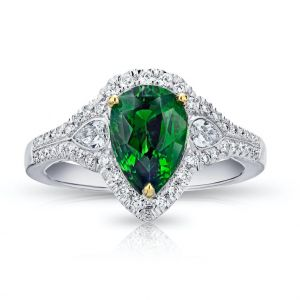 2.23 Carat Pear Shape Green Tsavorite and Diamond Ring