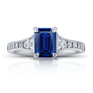 1.41 Carat Emerald Cut Blue Sapphire and Diamond Ring