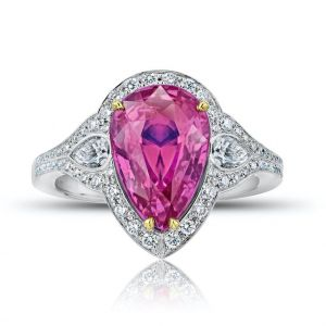 4.97 Carat Pear Shape Pink Sapphire and Diamond Ring