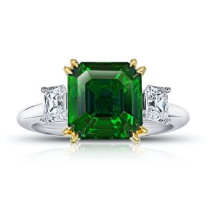 5.07 Carat Square Emerald Cut Green Tsavorite and Diamond Ring