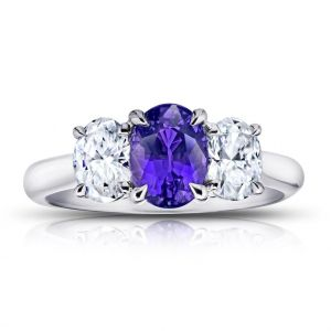 1.78 Carat Oval Purple Sapphire and Diamond Ring