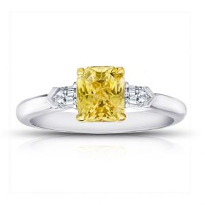 1.64 Carat Radiant Cut Yellow Sapphire and Diamond Ring