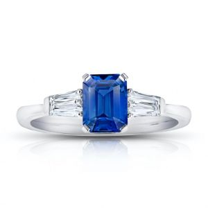 1.34 Carat Emerald Cut Blue Sapphire and Diamond Ring