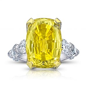 20.26 Carat Yellow Cushion Sapphire and Diamond Ring