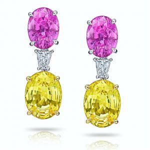 15.11 Carat Oval Pink & Yellow Sapphires and Diamond Earrings