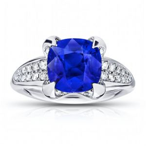 3.21 Carat Cushion Blue Sapphire And Diamond Ring