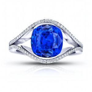 4.63 Carat Cushion Blue Sapphire And Diamond Ring