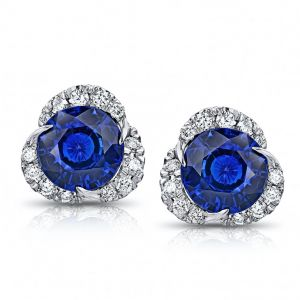 2.10 Carat Round Blue Sapphire and Diamond Halo Platinum Earrings