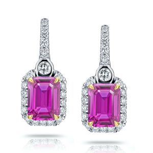 2.76 Carat Pink Sapphire and Diamond Halo Drop Earrings
