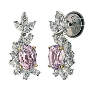 3.69 carat Oval Padparadscha Sapphire and Daimond Earrings