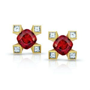 1.12 carat Cushion Red Ruby and Diamond Earrings