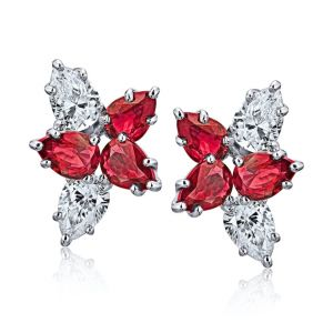 4.18 carat Pear Shape Red Ruby and Diamond Cluster Earrings