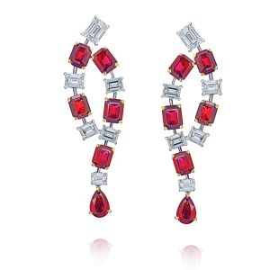 5.67 carats of emerald cut and pear shape ruby and diamond earrings