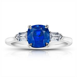 2.57 Carat Cushion Blue Sapphire and Diamond Ring