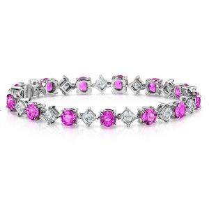 12.71 cts Pink Sapphire and Diamond Platinum Bracelet David Gross