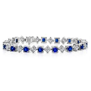 Blue Sapphire and Diamond Platinum Bracelet David Gross