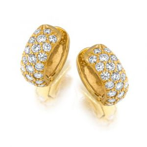 18 Karat Yellow Gold And Diamond Earrings E2264Y