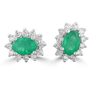 14K White Gold Oval Emerald Halo Earrings 2023139W